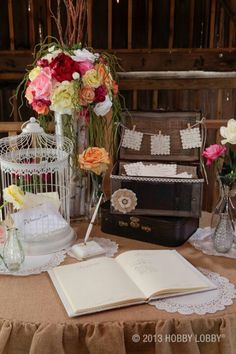 Loving all the jute and lace on this greeting table.  Really great for multiple occasions.