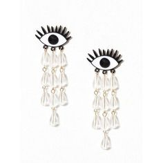 Wos Cry Baby Earrings ($42) ❤ liked on Polyvore featuring jewelry, earrings, accessories, womens-fashion, earring jewelry, pin jewelry, beads jewellery, beaded earrings and beaded jewelry