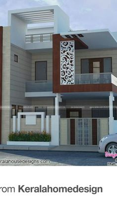 Modern House Elevation One Floor. 20 Modern House Elevation One Floor. Bungalow Haus Design, Duplex House Design, Modern House Design, Front Elevation Designs, House Elevation, Building Elevation, House Front Wall Design, New Modern House, Indian House Plans