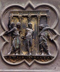 Lorenzo Ghiberti Flagellazione di Cristo Formella della porta nord del Battistero 1401-1424 Firenze
