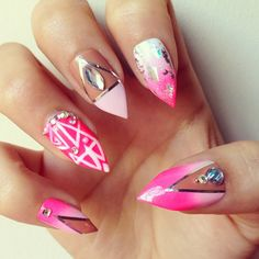 NAIL ART / NAIL DESIGNS / STILETTO NAILS / ACRYLIC NAILS don't love the stiletto but the print is way cute!