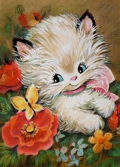 Vintage Greeting Cards – Vintage and antique items Vintage Birthday Cards, Vintage Greeting Cards, Vintage Postcards, Cute Animal Illustration, Illustration Art, Animal Illustrations, Retro Images, Cat Cards, Vintage Artwork