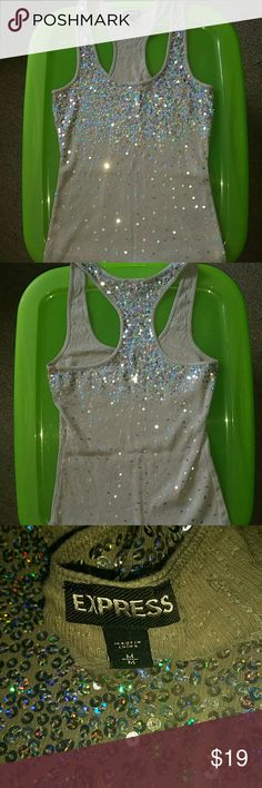 Sequin Tank Top EUC.  No sequins missing.  Any questions? Just ask!  This item is Xposted. Grab it now before someone else does! Express Tops Tank Tops
