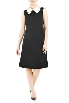 I <3 this Contrast scallop collar ponte shift dress from eShakti