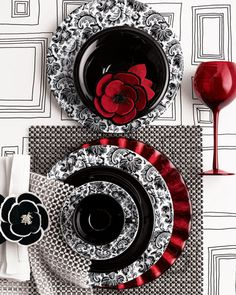 Table Setting - Black and white paisley pattern with a touch of green. & Porcelain dinner sophisticated table table settings table set ...
