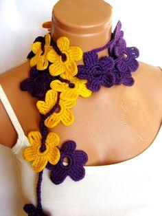 Purple Yellow crochet Flower Lariat Scarf