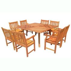 VIFAH V1131SET6 Outdoor Nine-Piece Teak Dining Set with Square Table and Eight Chairs by VIFAH. $1679.00. Harvested from certified forests with natural oils in the wood act as preservatives to resist insect attack and decay. Includes: 1 outdoor square table and 8 outdoor wood arm chairs - wooden table is expertly kiln-dried and extremely durable for outdoor/indoor use. FSC high density wood (shorea) is a hardwood growing naturally and plentifully in Asia Pacifi...