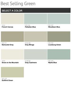 Best selling Benjamin Moore Greens. You can really see this forecasted trend into warmer green/blue by taking a look at Benjamin Moore's best selling greens right now (notice the warmer undertones