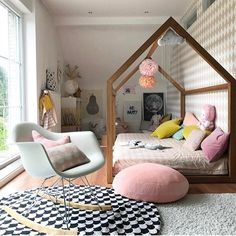 Pastel kids room, love the eames rocking chair. Kids Bedroom Designs, Kids Room Design, Eames Rocking Chair, Rocking Chair Nursery, Scandinavian Kids Rooms, Deco Kids, Pastel Room, Big Girl Rooms, House Beds