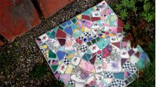 The stepping stones are all made using recycled dishes and tiles