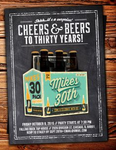 30th birthday invitation surprise 30th birthday party invitation any age cheers and beers invitation beer 21st 30th 40th 50th 60th 70th surprise birthday party invitation adult birthday cheers filmwisefo