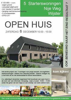Zaterdag 6 december Open Huis van de Starterswoningen in Wijster. Iedereen is van harte welkom van 10.00 - 15.00 uur om onder het genot van een hapje en drankje de woningen te bezichtigen. http://koopplein.nl/middendrenthe/1208441/open-huis-wijster-van-starterswoningen.html