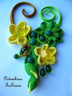 """Колье """"Арбузики"""" - ярко-зеленый,зеленый,желтый,арбуз,арбузик,арбузный ☆"""