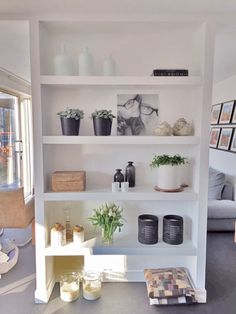 Living Area, Living Room, Floating Shelves, Outdoor Living, Bookcase, Sweet Home, Home And Garden, House Design, Interior