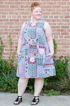 Liz from @wonderwhimsyliz in her J.Jill patchwork-print dress.