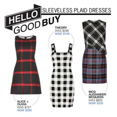 """""""Hello Good Buy: Sleeveless Plaid Dresses"""" by polyvore-editorial ❤ liked on Polyvore featuring Theory, Alice + Olivia, McQ by Alexander McQueen and HelloGoodBuy"""