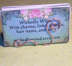 Simple Wire Business Card Holder Copper Art