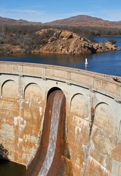 Quanah Parker Lake Dam. Wichita Mountains Wildlife Refuge, Oklahoma.