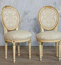 Pair Petite Vintage Louis XVI French Style Armchai