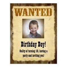 Personalized Wanted Poster, Birthday Bandit Custom Invites