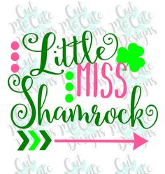 SVG DXF PNG cut file cricut silhouette cameo scrap booking Little Miss Shamrock St Patricks Day Baby Girl by CutMeCuteDesigns on Etsy