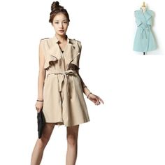 Womens Sleeveless Trench Long Vests Solid Belted Coats Beige Aqua Green HS-08658 #Unbranded