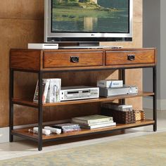 Home Styles Modern Craftsman Console - Oak Finish on  Hayneedle.com... too big but nice style and price