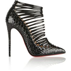 Christian Louboutin Gortik 120 python and patent-leather ankle boots ($1,665) ❤ liked on Polyvore featuring shoes, boots, ankle booties, heels, christian louboutin, ankle boots, black, high heel bootie, black boots and black bootie