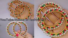 How To Make Silk Thread Bangles At Home//Pearl Bangles. Silk Thread Bangles Design, Silk Bangles, Silk Thread Earrings, Thread Jewellery, Bridal Gift Wrapping Ideas, Beaded Jewelry Patterns, Necklace Designs, Handmade Jewelry, Opal Jewelry