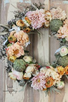 Simple Charm with a French Autumn Inspired Fresh Flower Wreath - FRENCH COUNTRY COTTAGE