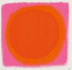 Rupprecht Geiger, red – orange / blue – black, 1964. Serigraphy. Via Van Ham