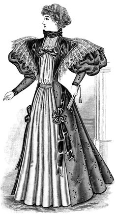 Tea Gown ~ a long, loose-fitting dress, typically made of fine fabric and lace-trimmed, worn at afternoon tea and popular in the late 19th and early 20th centuries.