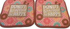 "Amazon.com: Custom & Durable {7"" x 7"" Inch} 2 Set Pack, Mid Size ""Non-Slip"" Pot Holders Made of Cotton for Carrying Hot Dishes w/ Donut Worry Worry Be Happy Style [Brown, Tan, Pink, White, & Blue]: Home & Kitchen"