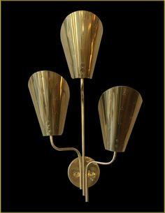 Paavo Tynell Attributed; Brass Wall Light for Lightolier, 1950s.