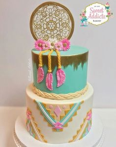 New Cupcakes Decorados Vintage Baby Shower Ideas Pretty Cakes, Cute Cakes, Beautiful Cakes, Beautiful Dream, Bolo Hippie, Pocahontas Cake, Pocahontas Birthday Party, Dream Catcher Cake, Cute Birthday Cakes