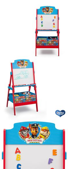 A necessity for any PAW Patrol fan! This PAW Patrol Activity Easel from Delta Children encourages your little one too be creative and have fun! Fully equipped with a dry-erase board, magnets for hanging up projects or notes, and 2 fabric storage bins beneath to keep toys in place, there's no better piece for your toddler's playroom or bedroom. This easel features colorful graphics with 3 PAW Patrol pups: Chase, Marshall, and Rubble! #kids #toddler #activity #fun #play #draw #gift…