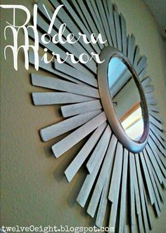 sun burst mirror using paint sticks