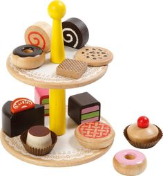 Voila Wooden Pretend & Play Voila Wooden Cake Stand by Voila Toddler Toys, Baby Toys, Kids Toys, Wooden Play Food, Wooden Cake Stands, Kids Play Kitchen, Play Kitchens, Wood Toys, Pretend Play