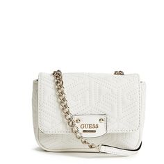 GUESS G Cube Quilted Cross-Body ($65) ❤ liked on Polyvore featuring bags, handbags, shoulder bags, white, quilted crossbody purse, white cross body purse, quilted handbags, guess purses and guess crossbody