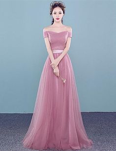 Prom Formal Evening Dress - Lace-up A-line Off-the-shoulder Floor-length Tulle with Beading Side Draping