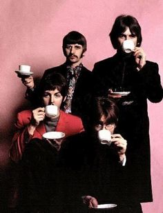 John, Paul, George and Ringo drinking coffee