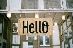 inspired: natural wood, hello, bold font