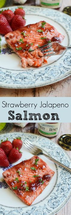Strawberry Jalapeno Salmon - only 5 ingredients and ready in under 30 minutes! This delicious, healthy meal is going to become a regular in your house!