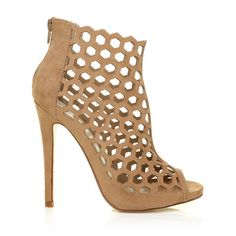 bb4de410e947 LAMAR Dark Nude Faux Suede Caged Honeycomb Peep-Toe High Heel Ankle Bo –  ShuWish