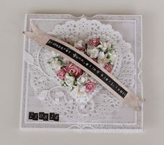 Wedding card with flower heart