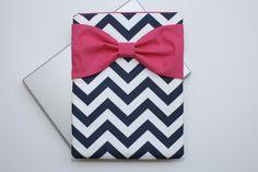 MacBook Pro / Air Case Laptop Sleeve - Navy Chevron Hot Pink Bow by AlmquistDesignStudio on Etsy