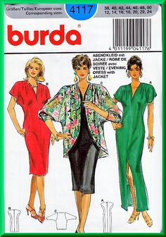 Burda 4117 Sewing Pattern Sz 12-24 Misses' Long Evening Dress Cocktail Elegant Cocoon Jacket Pleats