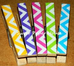 5 Magnetic Clothespins - CHEVRON (Neon Colors, New, Wedding, Favor, Shower, Baby, Polka Dots, Engagement, Baby Girl, Boy, Classic, Fridge) on Etsy, $4.25