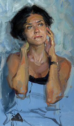 Evgeniy Monahov (Russian, b. 1974), oil on canvas {contemporary figurative art beautiful female torso woman cropped painting #loveart #2good2btrue}