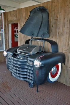 Man cave ideas 19 DIY decor and furniture projects that are sure to make your man cave the talk of the town and the center of everyones envy. Man Cave Barbecue Made Out Of A Car Car Part Furniture, Automotive Furniture, Furniture Projects, Diy Projects, Backyard Furniture, Automotive Decor, Man Cave Furniture, Furniture Design, Furniture Dolly